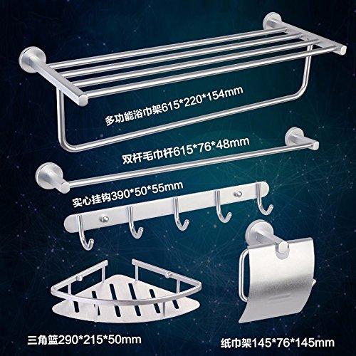 Rustikale Metall-5 Stück (STAZSX Handtuch Bad Zubehör Aluminium Mantel Haken Rackplatz im Rack, Hausbank mit fünf Stück Abdeckung Silber)