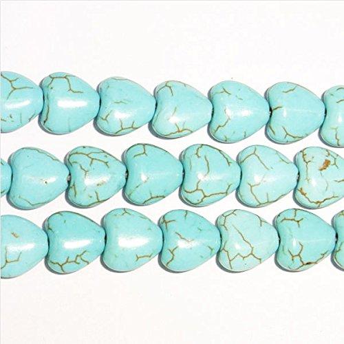 Thetastejewelry 12mm cuore turchese howlite perline 38,1cm 38cm creazione di gioielli collana guarigione