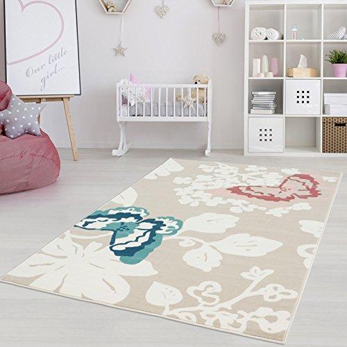 Kinderteppich Jugendteppich mit Pastellfarben, Modern Gemustert mit Schmetterlingen und Blumen für...