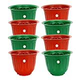 #8: Gamla Planter 10 inch Antique Look Design Stylised Design On Body of Planter Set of 8 Plastic Planter 2 Colour Available (Colour May Vary) for Home Garden Balcony Garden by Gate Garden