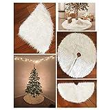 Amazingdeal365 Falda de árbol de Navidad de la felpa Inicio Decoración de Navidad al aire libre, Color Blanco