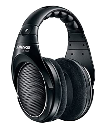 Shure SRH1440 Professional Open-back Premium Headphones, exceptionally natural sound with wide stereo image and precisely tailored frequency response, detachable cable, velour ear pads, black