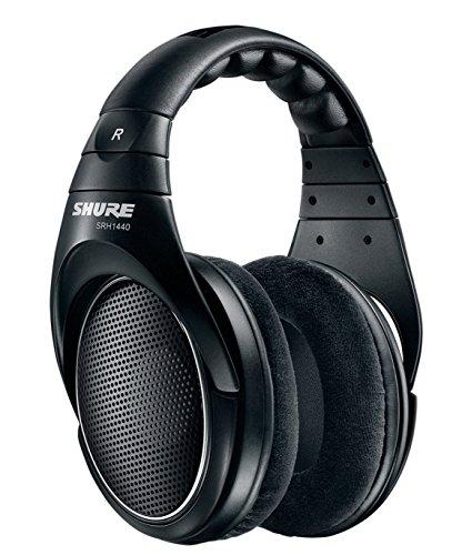 Shure SRH1440, offener Kopfhörer / Over-ear, schwarz, Premium, geräuschunterdrückend, austauschbares Kabel, Velourpolster, natürliche Wiedergabe, erweiterter Übertragungsbereich, linearer Frequenzgang