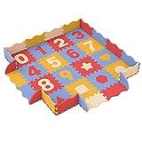 Bammax Bammax Baby Puzzel Spielmatte, Babymatte, Krabbelmatte Puzzle aus EVA-Schaum mit Zahlen von 0 bis 9 und Fraktalbilder, 16 Stück Babyteppich mit 16 Zäunen und 4 Ecken, Wasserdicht,Ungiftig