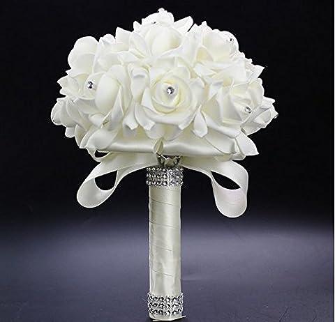 Hochzeit Braut Bouquet Blumen Kristall-Diamant-Schaum-Rosen-Holding-Blumen mit schönen Band-Brautbrautjunfer Wedding Bouquet Artificial Silk Blumen Hand Holding (weiß)