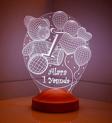 Sentidos Personalisiertes Geschenk 3D Led Lampe, Wunschtext, Schlummerlicht, Farbwechsel Dekor Lampe (Baby 1 Jahr) - Sevgi Lambası