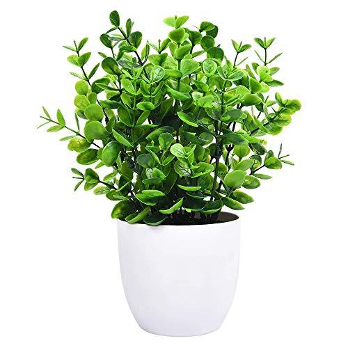 ZSTCO Eukalyptus-Topfpflanze, Mini-Kunstpflanzen mit 9 Zweigen Eukalyptus-Blätter in Töpfen, grüne Faux-Topfpflanzen für Office Table Bathroom Greenery Room Home Decor