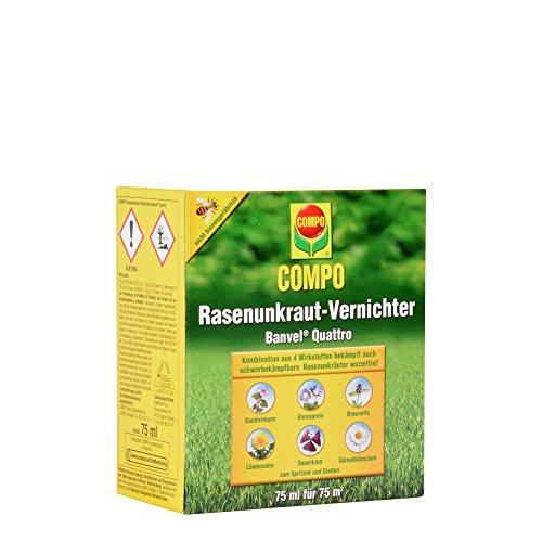 COMPO Rasenunkraut-Vernichter Banvel Quattro, Bekämpfung von schwerbekämpfbaren Unkräutern im Rasen, Konzentrat, 75 ml (75 m²)