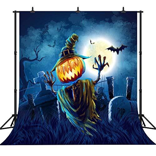 AdaCrazy PGT227A Fotohintergrund, 240 x 240 cm, Halloween-Motiv, Kürbis-Laterne, personalisierbar, nahtlos, Vinyl, Fotohintergrund