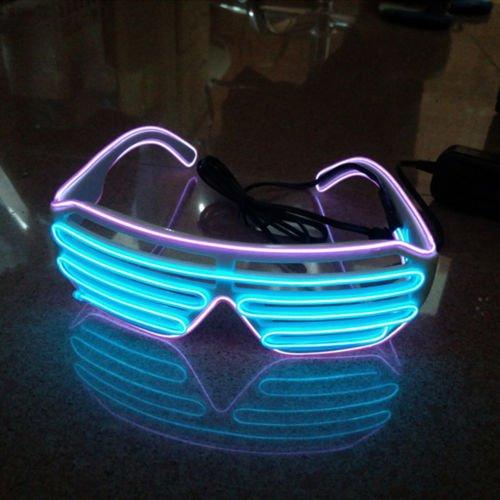 BADASS SHARKS 2 Bicolor EL Wire Leuchtbrille Leuchten LED Shutter Shade Brille Fun Konzert + Soundsteuerung Box für Masquerade Party, Nacht Pub,Bar Klub Rave,70er 80er 90er Kostüm (lila + - Party Box Kostüm