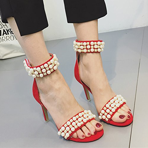 Oasap Women's Peep Toe Ankle Strap High Heels Pearls Sandals red