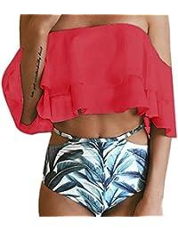 ZEZKT♪ High Waist Badeanzug Off Shoulder Swimsuit Push up High Waist Bikini  Set Hohe Taille 657da7c88e
