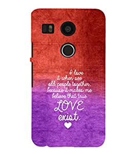 EPICCASE Love exist Mobile Back Case Cover For LG Nexus 5x (Designer Case)