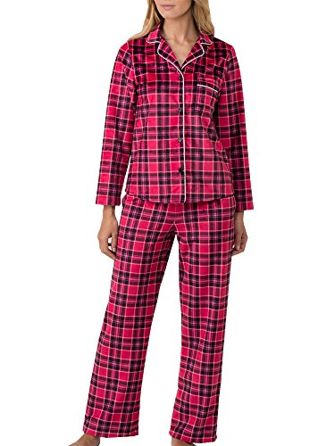 DKNY Fleece Pyjama Set in Black Plaid, Red Plaid OR Grey Heather Dot (YI2019297) *Sizes S-XL* (Pyjama Dot Fleece)