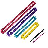 6 tlg. Strickrahmen Set - 4 Rahmen in verschiedenen Grössen mit Nadel und Haken und ausführlicher Anleitung