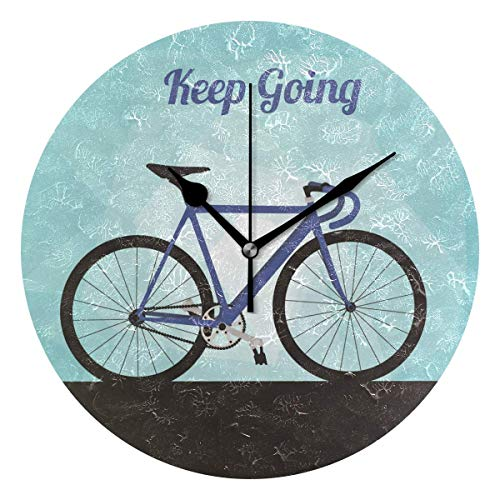 Keep Going Bicycle Round Wall Clock Silent Non Ticking Decorative Clocks for Kitchen, Living Room, Bedroom, Bathroom, Office (Bicycle Gear Uhr)