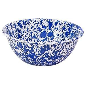 Émail bol à servir, marbre bleu