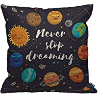 HGOD DESIGNS Cushion Cover Outer Space Cute Planets And Star Cluster Solar System Moon And Comets Sun Cosmos Throw Pillow Cover for Men/Women/Boys/Girls living room Bedroom Sofa Chair 18X18 Inch