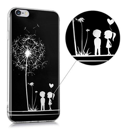 kwmobile Hülle für Apple iPhone 6 / 6S - TPU Silikon Backcover Case Handy Schutzhülle - Cover Marmor Design Schwarz Weiß Pusteblume Love IMD Weiß Schwarz