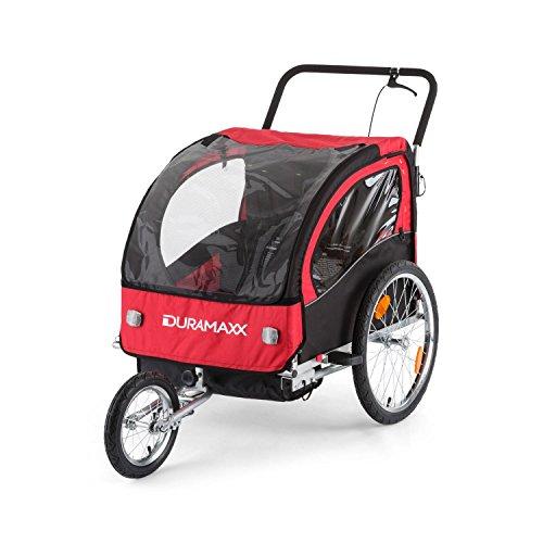 DURAMAXX • Trailer Swift • Fahrradanhänger • Kinderfahradanhänger • Kinderwagen • Babytrailer 2-Sitzer • 5-Punkt Sicherheitsgurten • Umwandlung in Joggermodell • Fliegengitter und Regenschutzverdeck • 37,5 Liter Gepäckfach • zusammenklappbar • rot - 5