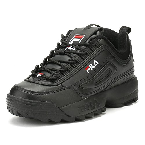 Fila Disruptor II Premium 5FM00002-014 Leather Synthetic Unisex Trainers - Black White Red - 43