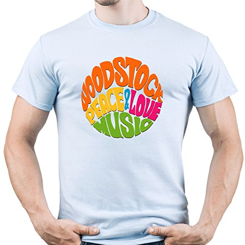 Herrenmode T-Shirts T-SHIRT BIANCA COLLO V WOODSTOCK VINTAGE PEACE  DEA REGALO ROAD TO HAPPINESS