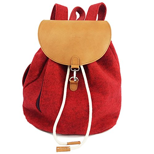 6da4d387d4226 Venetto Designer Rucksack aus Filz und Leder Elementen sehr leicht backpack  unisex (Grau) Rot