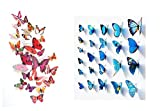 Butterfly Wall Stickers - 12 Pcs Red Col...