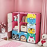 #5: GoldenCart Kids Jungle Cartoon Multi-use Toys Storage, Kids Wardrobe & Book shelf, Foldable, DIY, Portable, Collapsible, Sturdy, Designer, Durable and Spacious 9 Creative Cubes that can be transformed into structure of your choice (Pink Colour with magnetic Doors, LIMITED EDITION)