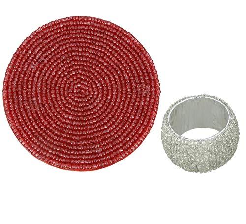 Handgefertigte Perlen Set von 6 Silber Serviettenringe 1,5 Zoll und Red Cup Untersetzer 4 Zoll