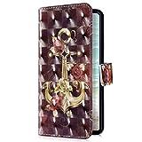 Uposao Kompatibel mit Samsung Galaxy M20 Handyhülle Luxus Bling Glitzer Bunt Muster Wallet Schutzhülle Leder Hülle Klapphülle Wallet Bookstyle Handy Tasche Magnet Kartenfach,Rose Blumen