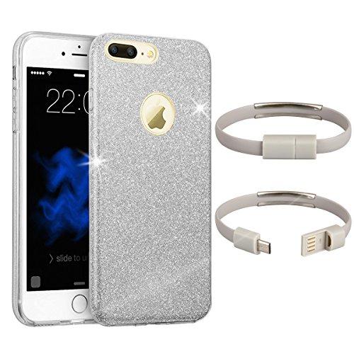EGO ® Glitzer Schutzhülle für Huawei P9 Lite, Pink Back Case Bumper Glänzend Transparente TPU Bling Weiche Glamour Handy Cover Lipgloss Silber + Ladekabel