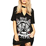 Women's Ladies Choker Neck T shirt Dress Biker Born to be Rock Star Rock N Roll Slogan Printed Tops