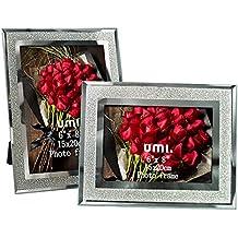 Umi. by Amazon - Cornici per Foto con Vetro Scintillante 15x20cm, 2 pezzi
