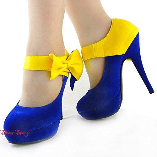 Visualizza Story Sexy Ladies Bow cinturino alla caviglia stiletto della piattaforma pompa i pattini, LF30412 Blu