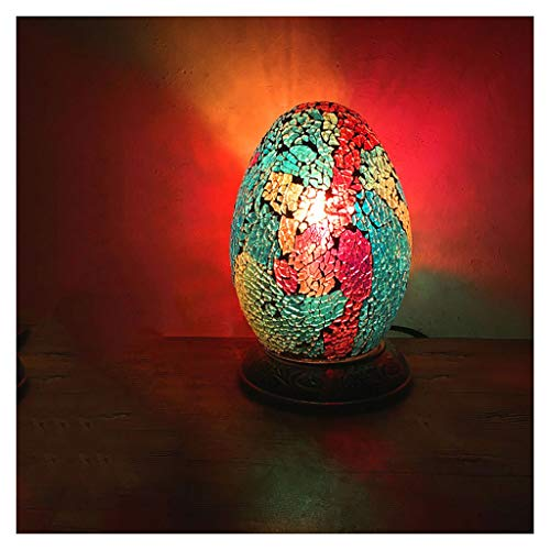GYDD Night Lights Vintage Romantic Exotic Handmade Mosaic Glass Egyptian Egg Table Lamp for Bedroom/Study/Bed