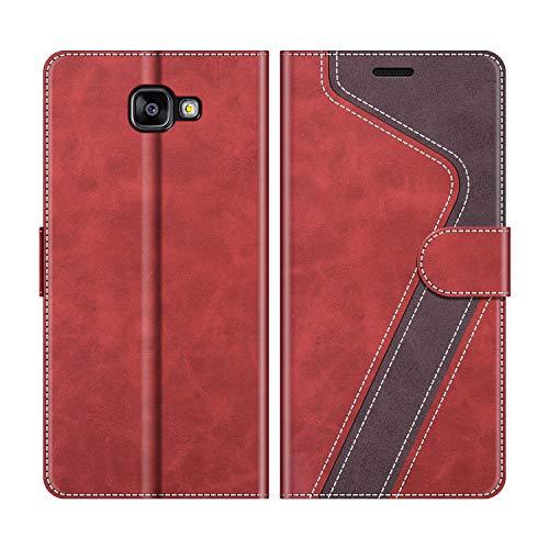MOBESV Coque pour Samsung Galaxy A3 2016, Housse en Cuir Samsung Galaxy A3 2016, Étui Téléphone Samsung Galaxy A3 2016 Magnétique Etui Housse pour Samsung Galaxy A3 2016, Élégant Rouge