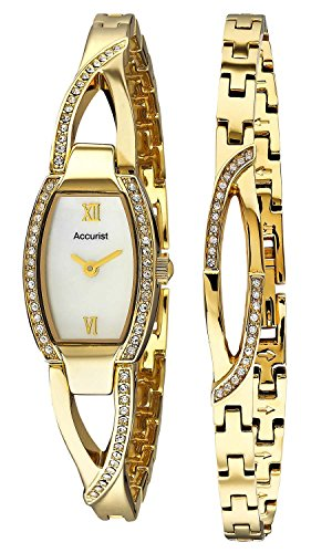 Accurist Ladies Stone Set Gold Stainless Steel Bracelet And Watch Gift Set LB1413