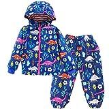 Liny Completo Giacca Pantaloni Impermeabile Bambina - Giacca Impermeabile con Cappuccio Softshell Ragazza Dinosauro Fumetto Outwear