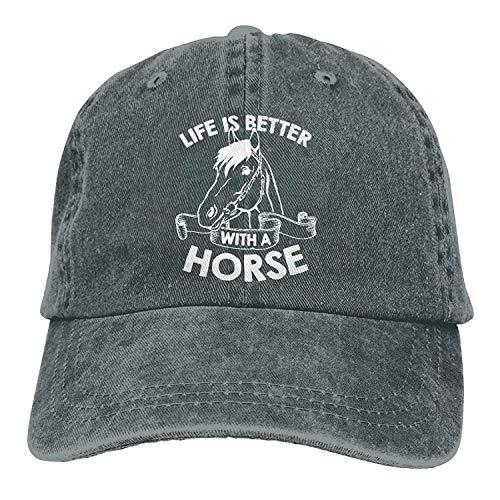 Preisvergleich Produktbild Life is Better with A Horse-1 Vintage Jeans Baseball Cap for Men and Women