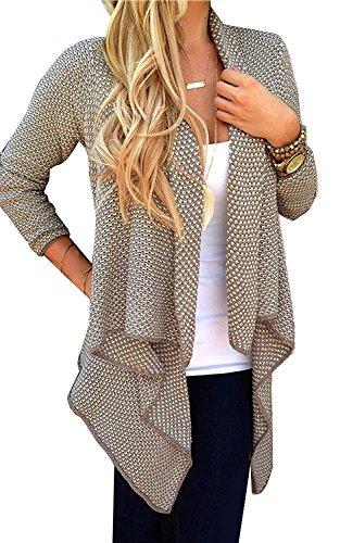 Minetom Femme Mode élégant Casual Manches Longues Automne Hiver Cardigan Pull Hem Irrégulière Blouson Gilets ( Kaki FR 42 ) Minetom