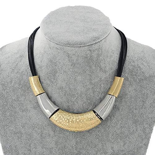 RL Frauen Wachs Seil Schlüsselbein Kette Trend einfache Metall Temperament Halskette Retro übertrieben Legierung Patch Schmuck,Main Color-OneSize (Mama Patch Produkte)