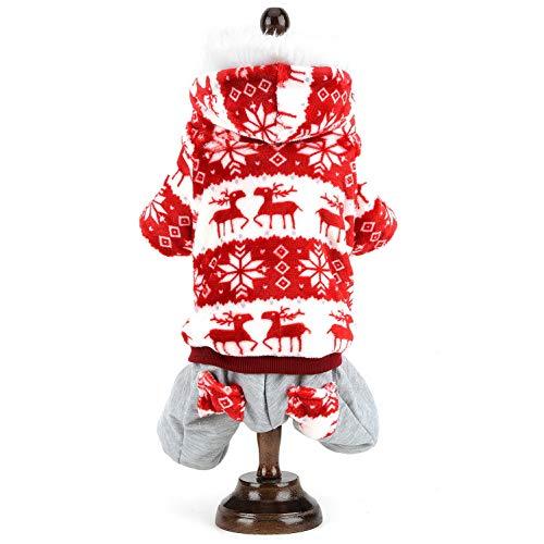 smalllee_lucky_store Pet Hund Katze Kleidung Weihnachten Fleece Jumpsuit Parka Winter Warm Coat Kalt, ob Süßes Rentier und Diamant Muster Chihuahua Kleidung Kleine Hunde 2Farbe