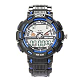 Gobu 1531moda orologio sportivo multifunzione LED multicolore lanalog digitale impermeabile Allarme Orologio da polso resistente all' acqua con allarme/Cronografo Cronometro/Timer, Blue