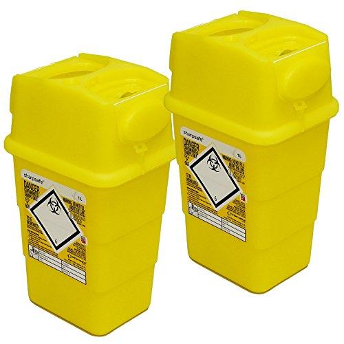 Qualicare Sharpsafe Lot de 2boîtes collecteurs d'aiguilles usagées - 1litre