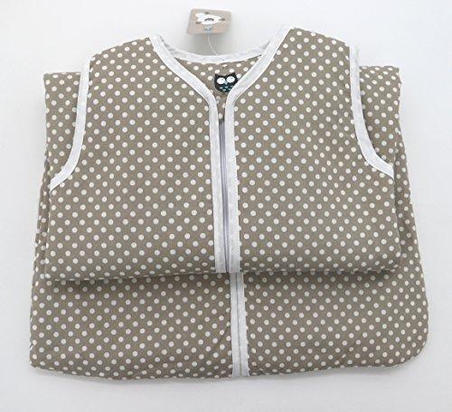 Fashion&Joy Baby Schlafsack aus 100% Baumwolle Punkte in Taupe 90 cm Babyschlafsack Leicht gefüttert Atmungsaktiv Ganzjahres-Schlafsack Kleinkind Unisex Beige Typ373