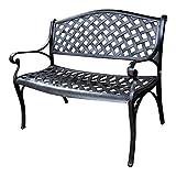 Lazy Susan Furniture - Jasmine Metal Garden Bench Antique Bronze
