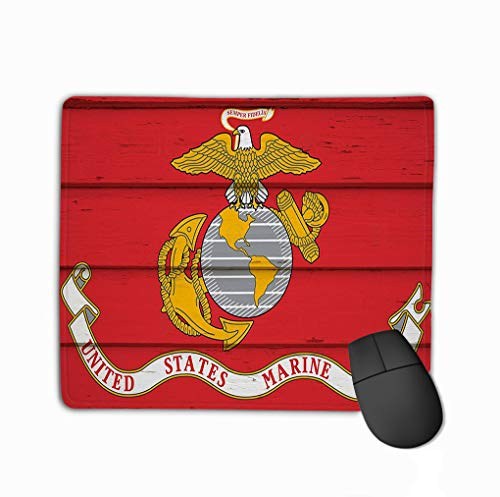 Rectangle Non-Slip Rubber Mousepad 11.81 X 9.84 Inch red Flag United States Marine Corps Wood United States Marine Corps Flag (Marine Corp Jersey)