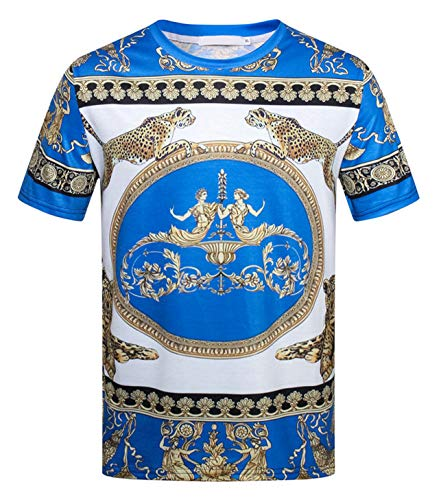 PIZOFF Unisex Kurzarm Tropische 3D Druck T-Shirts Chinesische Japanische und Barock Stil, 01030002x17, M -
