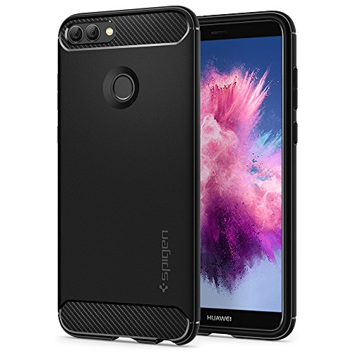 Spigen rugged armor, tpu design in fibra di carbonio originale cover huawei p smart - nero